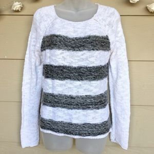 Sanctuary - White Black Striped Crewneck Sweater